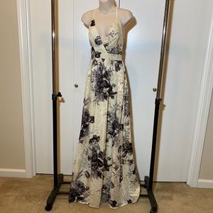 Like New | Cream & Black | Flowery | Maxi Dress